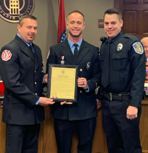 OFPD firefighters Doug Ellis and Matt Chapman along with Officer Jordan Wilmes were honored by the City of O'Fallon.